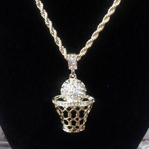 14k gold-plated CZ pendant necklace